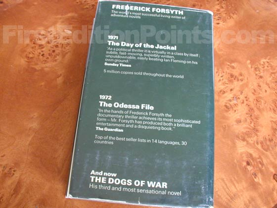 Picture of the back dust jacket for the first edition of The Dogs of War (UK).