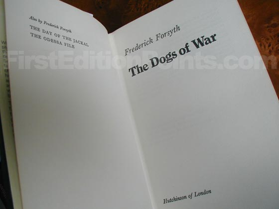 Picture of the first edition title page for The Dogs of War (UK).