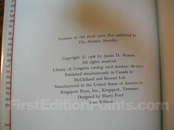 Picture of the first edition copyright page for The Double Helix.