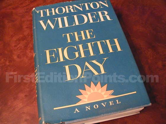 Picture of the 1967 first edition dust jacket for The Eighth Day.