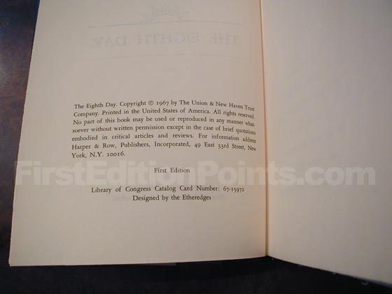 Picture of the first edition copyright page for The Eighth Day.