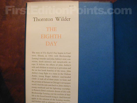 Picture of dust jacket where original $6.95 price is found for The Eighth Day.