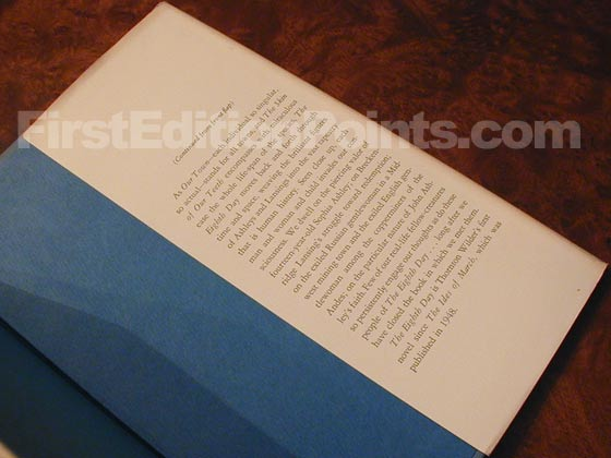 Picture of the back dust jacket flap for the first edition of The Eighth Day.
