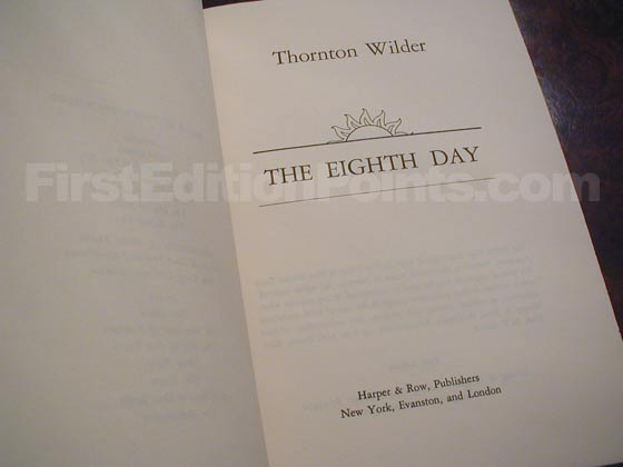 Picture of the first edition title page for The Eighth Day.
