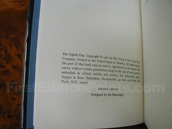 This is a picture of the copyright page from one of the 500 specially printed and bound