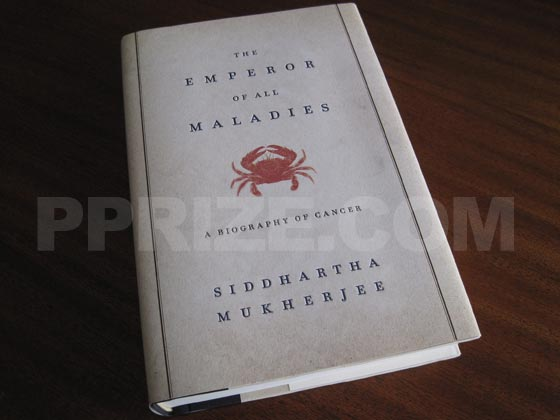 Picture of the 2010 first edition dust jacket for The Emperor Of All Maladies.