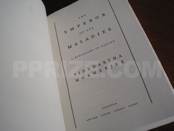 Picture of the first edition title page for The Emperor Of All Maladies.