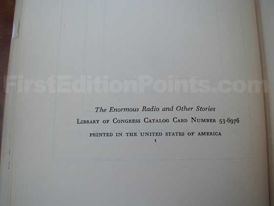 Picture of the first edition copyright page for The Enormous Radio.