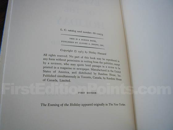 Picture of the first edition copyright page for The Evening of the Holiday .