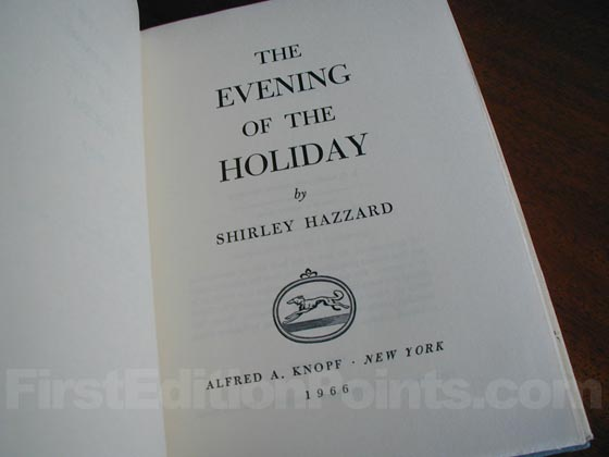 Picture of the first edition title page for The Evening of the Holiday .