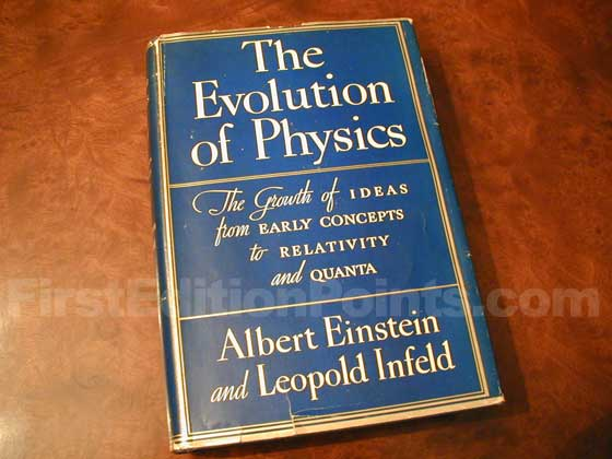 Picture of the 1938 first edition dust jacket for The Evolution of Physics (U.S.).
