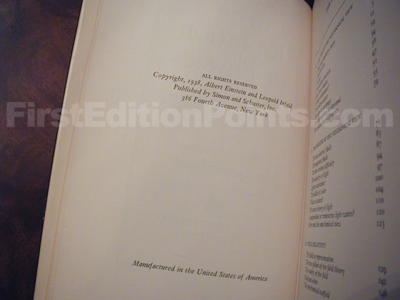 Picture of the first edition copyright page for The Evolution of Physics (U.S.).
