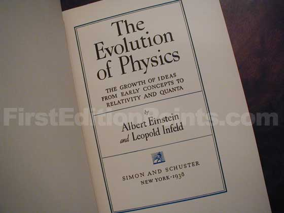 The first edition title page of The Evolution of Physics (U.S.) states 1938 on the