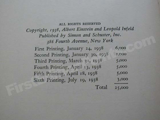 This copyright page from a sixth printing shows the printing history.  Notice how few