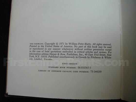 Picture of the first edition copyright page for The Exorcist.