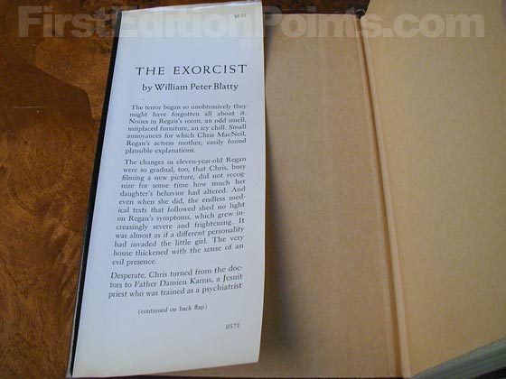Picture of dust jacket where original $6.95 price is found for The Exorcist.