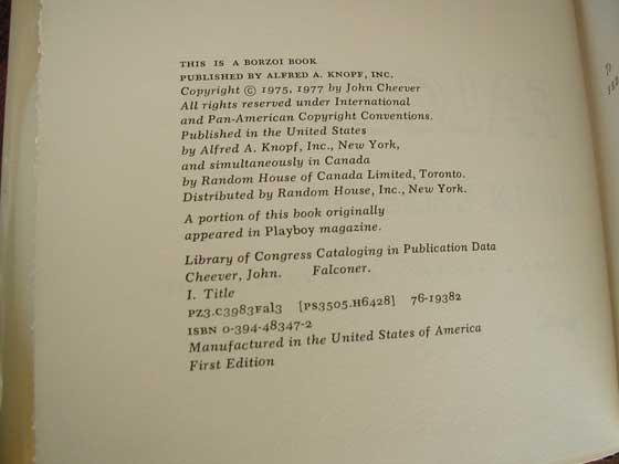 Picture of the first edition copyright page for The Falconer.