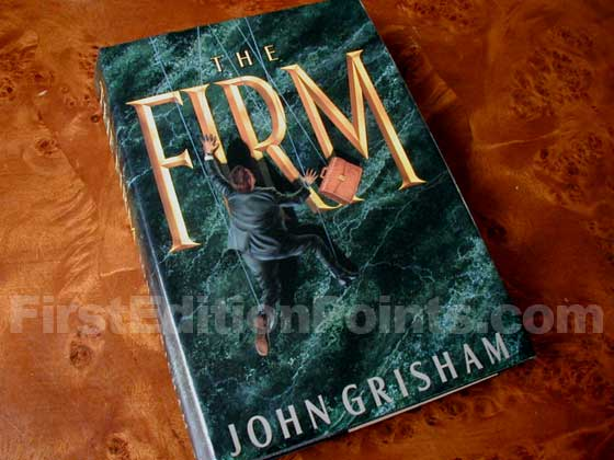 Picture of the 1991 first edition dust jacket for The Firm.