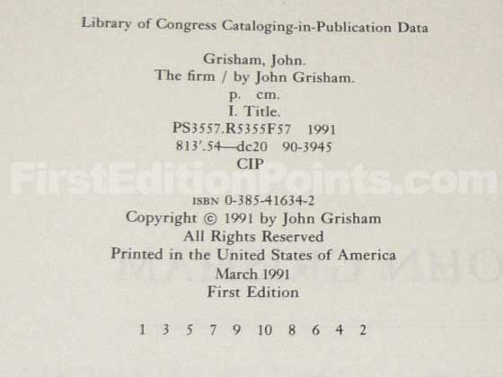Picture of the first edition copyright page for The Firm.