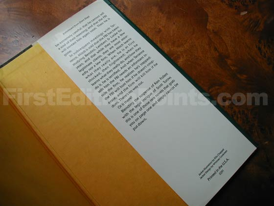 Picture of the back dust jacket flap for the first edition of The Firm.