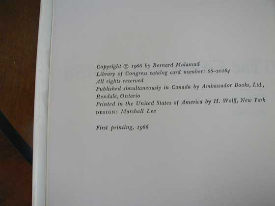 Picture of the first edition copyright page for The Fixer.