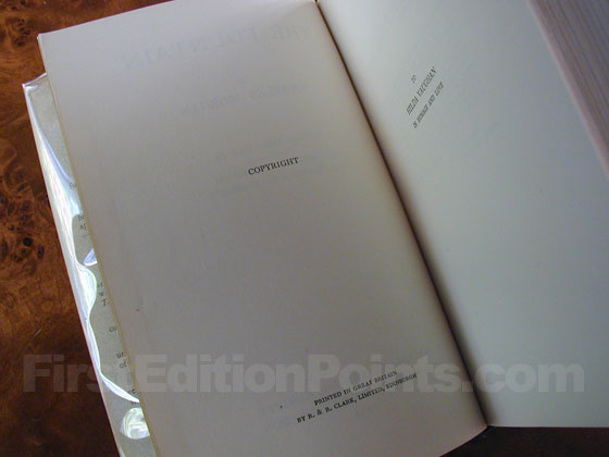 Picture of the first edition copyright page for The Fountain.