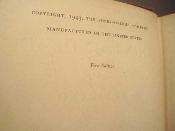 Picture of the first edition copyright page for The Fountainhead.