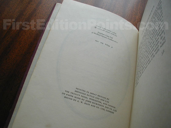 Picture of the first edition copyright page for The French Lieutenant's Woman.