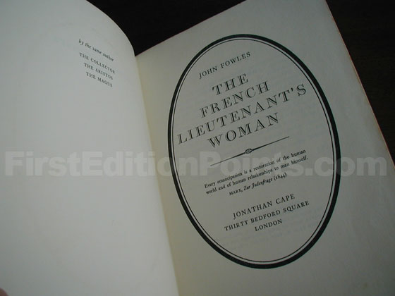 Picture of the first edition title page for The French Lieutenant's Woman.