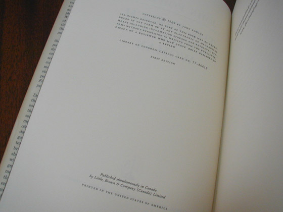Picture of the first American edition copyright page for The French Lieutenant's