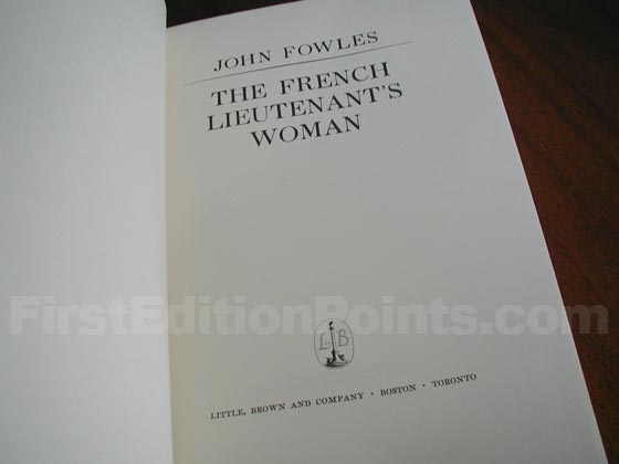 Picture of the first American edition title page for The French Lieutenant's W