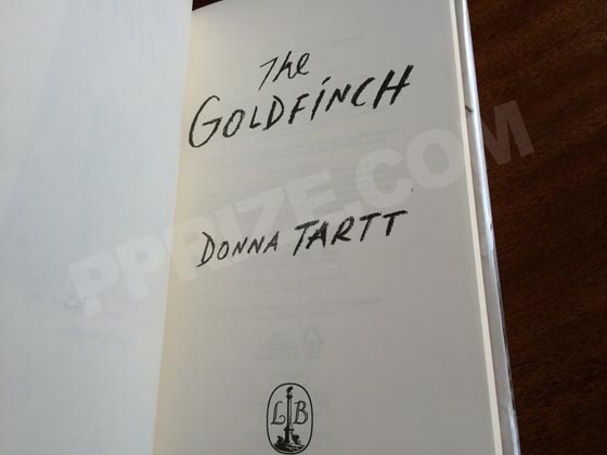 This is the title page from the UK deluxe limited-edition of The Goldfinch. This page is
