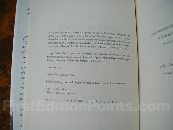 Picture of the first edition copyright page for The Gravedigger's Daughter.