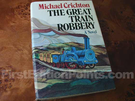 Picture of the 1975 first edition dust jacket for The Great Train Robbery.