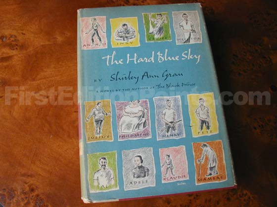 Picture of the 1958 first edition dust jacket for The Hard Blue Sky.