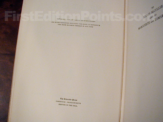 Picture of the first edition copyright page for The Heart is a Lonely Hunter.