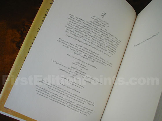 Picture of the first edition copyright page for The Help.