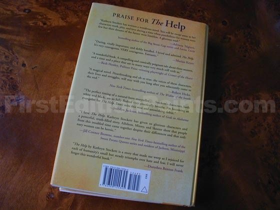 Picture of the back dust jacket for the first edition of The Help.