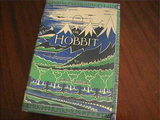 Picture of the 1937 first edition dust jacket for The Hobbit.