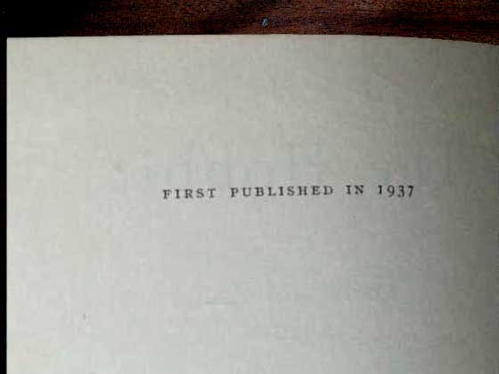 The true first edition was published in 1937 by George Allen and Unwin.