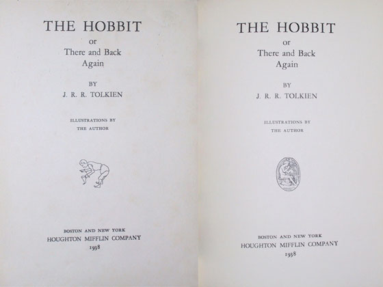This First American Edition title page originally had an image of a bowing hobbit (left),