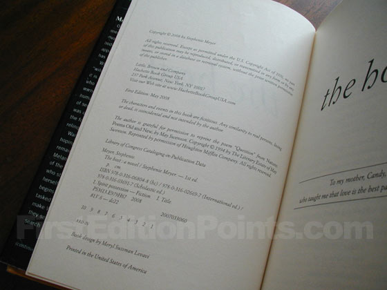 Picture of the first edition copyright page for The Host.
