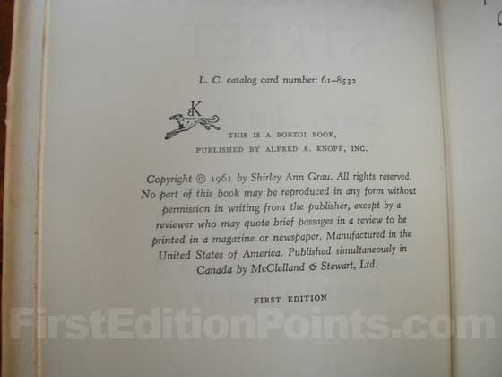 Picture of the first edition copyright page for The House on Coliseum Street.