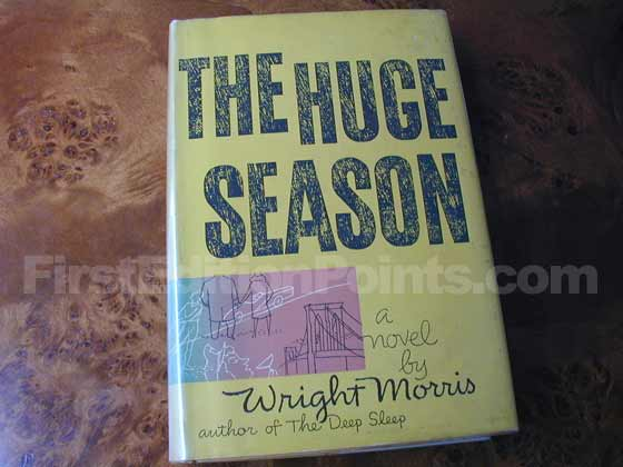 Picture of the 1954 first edition dust jacket for The Huge Season.