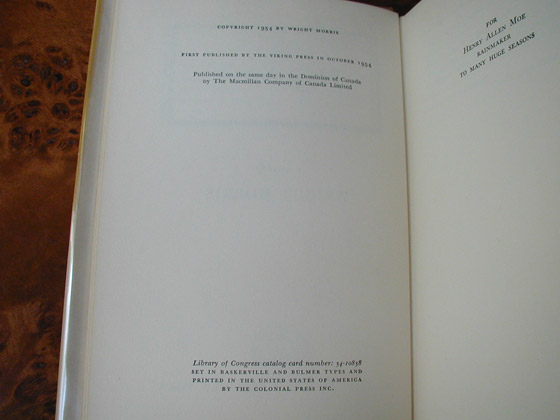 Picture of the first edition copyright page for The Huge Season.