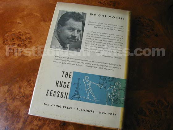 Picture of the back dust jacket for the first edition of The Huge Season.