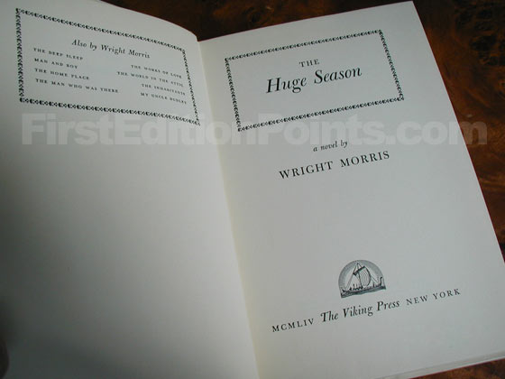 Picture of the first edition title page for The Huge Season.
