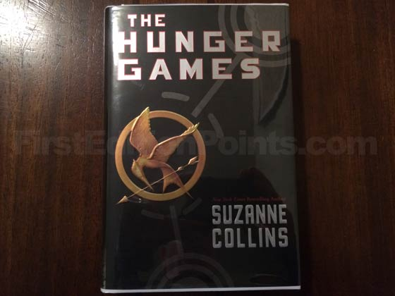 Picture of the 2008 first edition dust jacket for The Hunger Games.