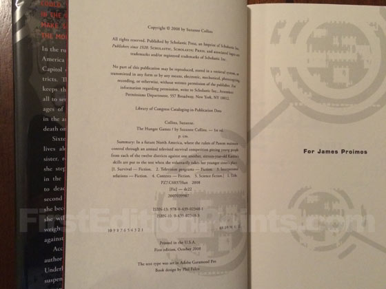 Picture of the first edition copyright page for The Hunger Games.