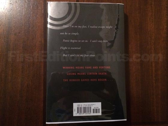 Picture of the back dust jacket for the first edition of The Hunger Games.